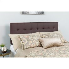 Lennox Tufted Upholstered Queen Size Headboard in Brown Vinyl