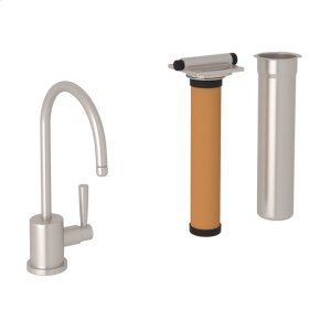 Satin Nickel Perrin & Rowe Holborn C-Spout Filter Faucet with Contemporary Metal Lever