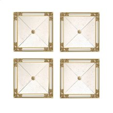 Set of Four Square Mirrors, Antiqued Mirror Glass,Gold Leaf, and Mirrored Side Panels