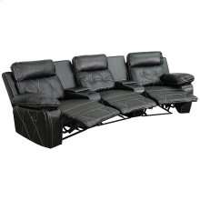 Reel Comfort Series 3-Seat Reclining Black Leather Theater Seating Unit with Curved Cup Holders