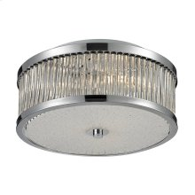 Amersham 3-Light Flush Mount in Chrome with Clear Glass Rod Diffuser