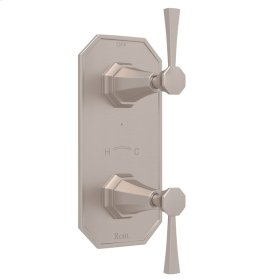"Satin Nickel Perrin & Rowe Deco 1/2"" Thermostatic/Diverter Control Trim with Deco Metal Lever"
