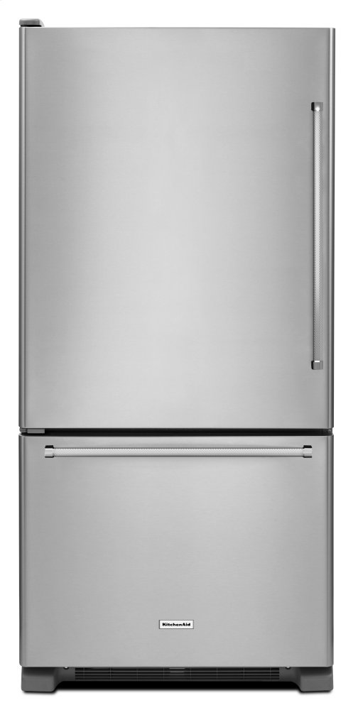 Kitchenaid19 Cu. Ft. 30-Inch Width Full Depth Non Dispense Bottom Mount Refrigerator - Stainless Steel