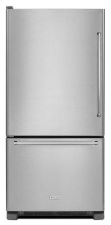 19 cu.ft. 30-Inch Width Full Depth Non Dispense Bottom Mount Refrigerator - Stainless Steel