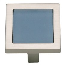 Spa Blue Square Knob 1 3/8 Inch - Brushed Nickel