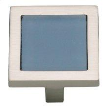 Spa Blue Square Knob 1 3/8 Inch - Brushed Nickel
