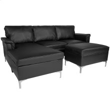 Boylston Upholstered Plush Pillow Back Sectional with Left Side Facing Chaise and Ottoman Set in Black Leather