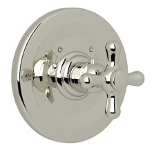 Polished Nickel Verona Thermostatic Trim Plate Without Volume Control with Verona Series Only Cross Handle