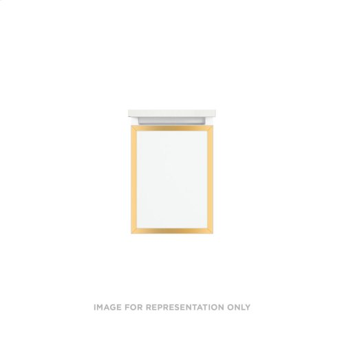 """Profiles 12-1/8"""" X 15"""" X 21-3/4"""" Framed Single Drawer Vanity In Satin White With Matte Gold Finish, Slow-close Full Drawer and Selectable Night Light In 2700k/4000k Color Temperature"""