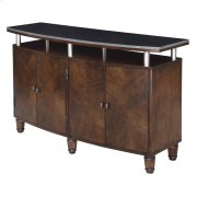 Henley 4 Curved Door Walnut Finish Media Console with Black Granite Top Product Image