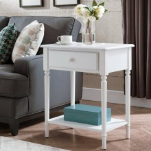 Orchid White Coastal Nightstand/Side Table with AC/USB Charger #20022-WT