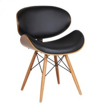 Armen Living Cassie Mid-Century Dining Chair in Walnut Wood and Black Pu
