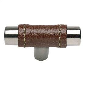 Zanzibar Brown Leather Knob 1 7/8 Inch - Polished Chrome