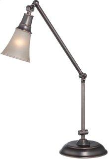 Desk/table Lamp, ANT.COPPER/L.AMB Glass Shade, E27 Cfl 13w