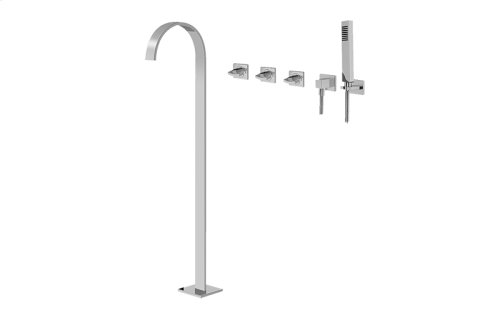 Sade Floor-Mounted Tub Filler w/Wall-Mounted Handshower & Diverter