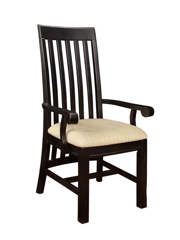 Kingsland Long Back Arm Chair W/Fabric Seat