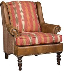 Florida Leather/Fabric Chair, Florida Leather/Fabric Ottoman