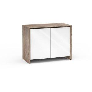 Salamander DesignsBarcelona 323, Twin-Width Pro Audio Cabinet (30U Rack Mount Rails), Natural Walnut with White Gloss Doors