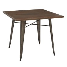 Indio Metal Table With Matte Industrial Steel Frame Finish and Walnut Veneer Table Top