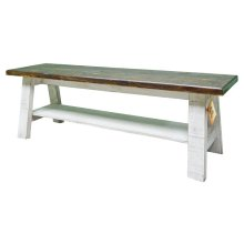 Weathered White Barn Bench