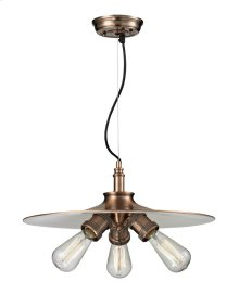 210-AC - BARE BULB 3 LIGHT SPUN SHADE CHANDELIER