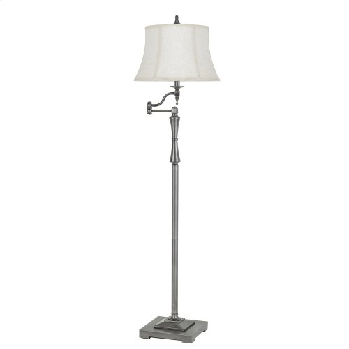 150W 3 Way Madison Metal Swing Arm Floor Lamp With SofTBack Fabric Shade