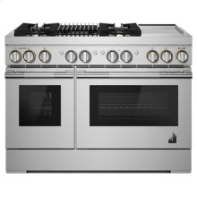 """RISE 48"""" Dual-Fuel Professional Range with Chrome-Infused Griddle and Gas Grill"""