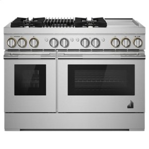 "Jenn-AirRISE 48"" Dual-Fuel Professional Range with Chrome-Infused Griddle and Gas Grill"