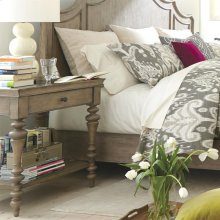 Corinne - Marble Top Leg Nightstand - Sun-drenched Acacia Finish