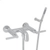 Polished Chrome Lombardia Wall Mount Exposed Tub Set With Handshower With Metal Lever
