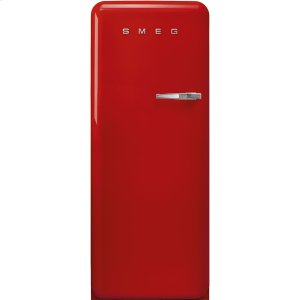 Smeg'50s Style fridge with ice compartment, Red, Left-hand hinge, 24'' in-width