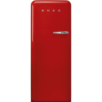 '50s Style fridge with ice compartment, Red, Left-hand hinge, 24'' in-width
