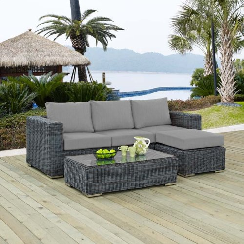 Summon 3 Piece Outdoor Patio Sunbrella® Sectional Set in Canvas Gray
