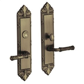 Satin Brass and Black Fenwick Escutcheon Entrance Set