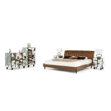 Modrest Bourbon Modern Brown Leather Bed