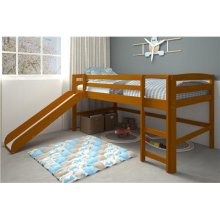 Pine Ridge Honey Mini Loft With Slide with options: Honey, Twin
