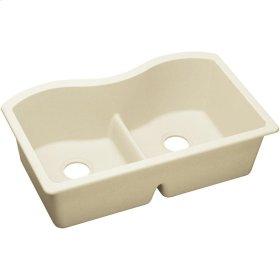 """Elkay Quartz Luxe 33"""" x 20"""" x 9-1/2"""", Equal Double Bowl Undermount Sink with Aqua Divide, Parchment"""