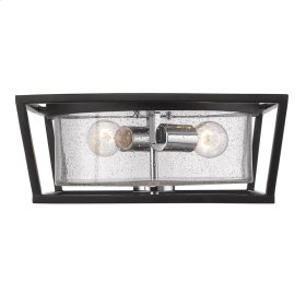 Mercer Flush Mount in Black with Seeded Glass