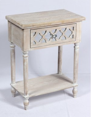 Side Accent Table-weathered Wood Finish W/mirror Accent Su