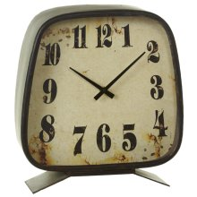 Galvanized Square Oversized Mantel Clock.