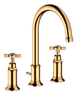 Polished Gold Optic 3-hole basin mixer 180 with cross handles and pop-up waste set