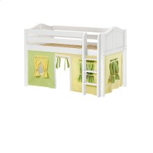 Low Loft w/ Straight Ladder & Curtain : Twin : White : Curved