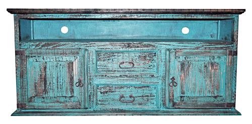 2 Door 2 Drawer TV Stand Turquoise Scraped