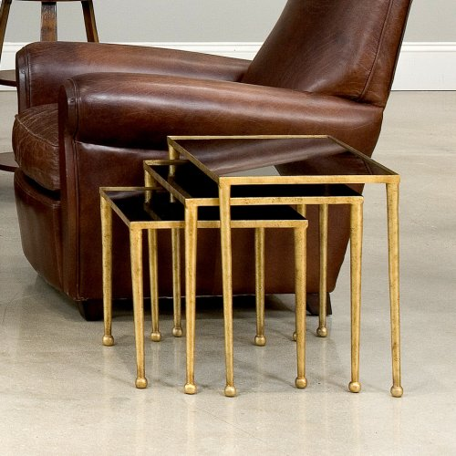 Trio Of Gilt Metal Nesting Tables