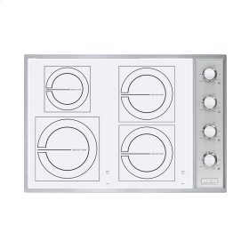 """Stainless Steel/White Glass 30"""" All-Induction Cooktop - VICU (30"""" wide, four induction elements)"""