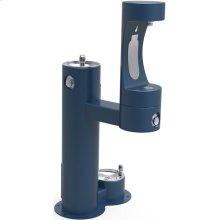 Elkay Outdoor ezH2O Bottle Filling Station Bi-Level Pedestal, with Pet Station Non-Filtered NonRefrige Freeze Resistant Blue