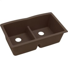 "Elkay Quartz Classic 33"" x 19"" x 10"", Equal Double Bowl Undermount Sink with Aqua Divide, Mocha"