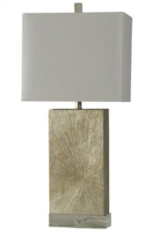 Contemporary Silverwood Table Lamp on Crystal Base Rectangular Fabric Shade