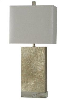 Contemporary Silverwood Table Lamp on Crystal Base Rectangular Fabric Shade
