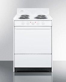 """White 220v Electric Range In Slim 24"""" Width With Storage Compartment"""